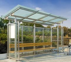 Автобусна спирка от неръждаема стома и стъкло (триплекс)